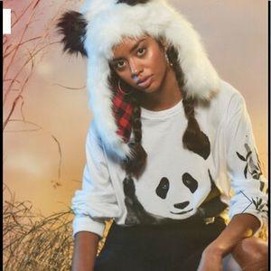 Aeropostal panda Faux Fur Trapper Hat